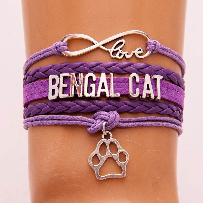 Love Bengal Cat Bracelet Purple